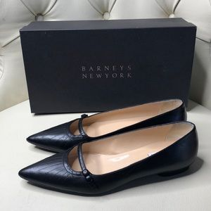 Coop Barneys New York Black Flats Pointed Toe